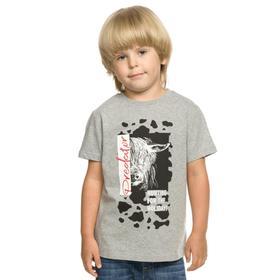 Футболка для мальчиков, рост 98 см, цвет серый