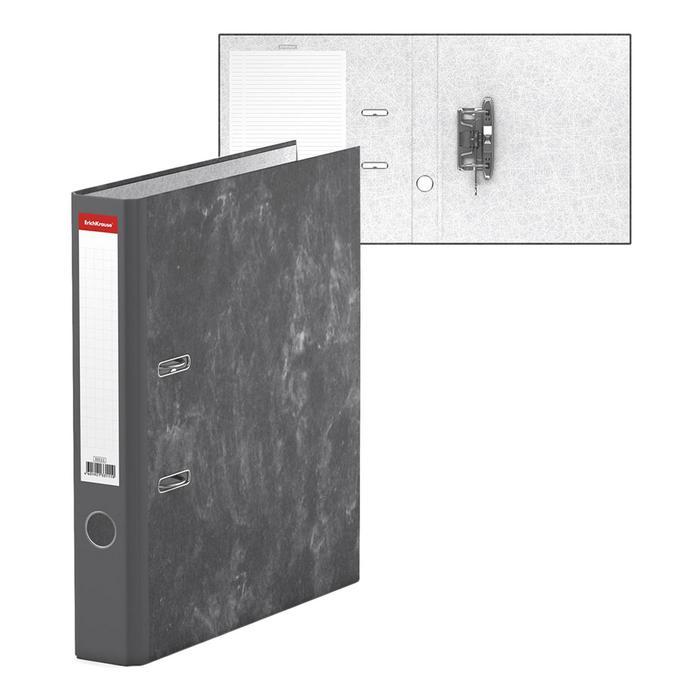 Папка-регистратор А4, 50 мм, Economy, собранный, мраморный, серый, картон 1.75 мм, вместимость 350 листов