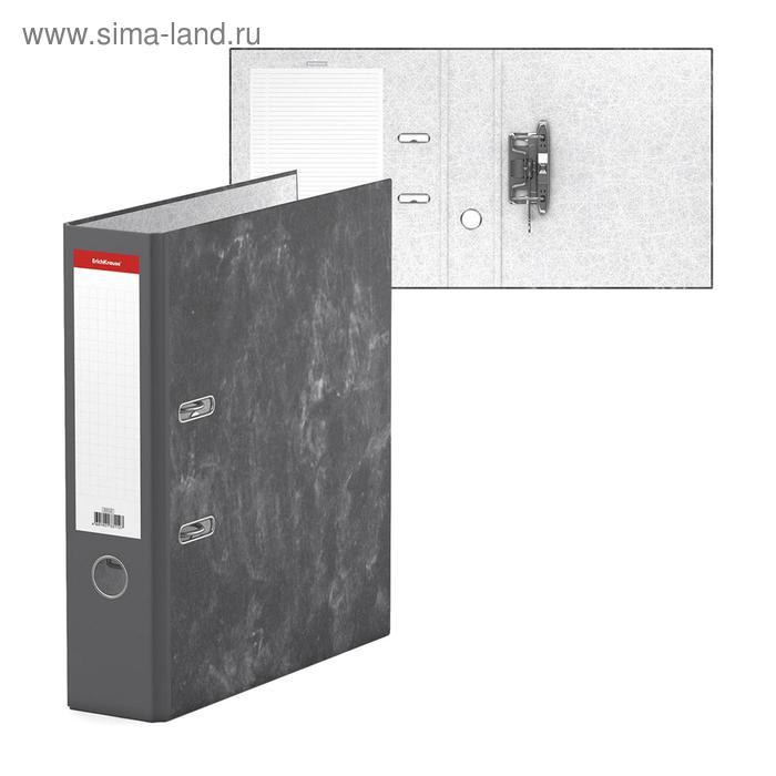 Папка-регистратор А4, 70мм, мраморный Эконом, серый, EK 33112