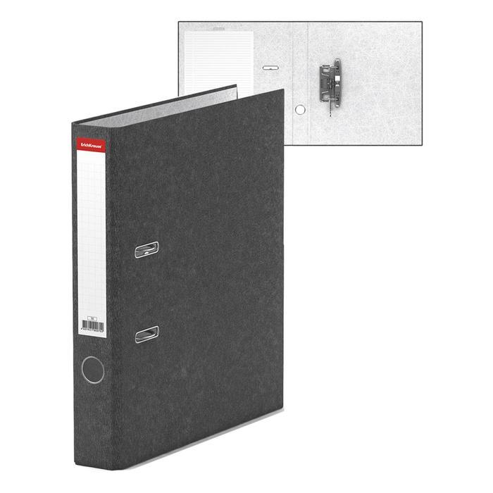 Папка-регистратор А4, 50 мм, BASIC, собранный, мраморный, серый, этикетка на корешке, картон 2 мм, вместимость 350 листов