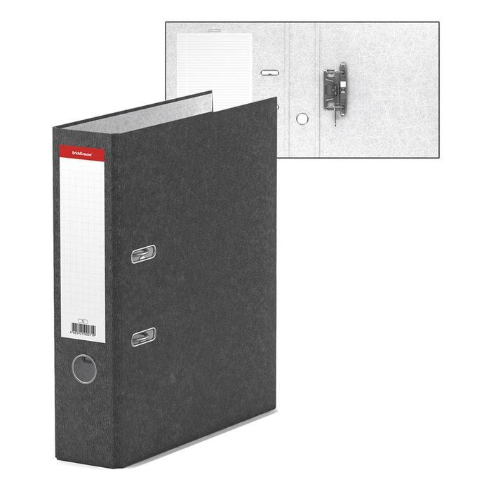Папка-регистратор А4, 70мм BASIC, собранный, мраморный, серый, этикетка на корешке, картон 2мм, вместимость 450 листов