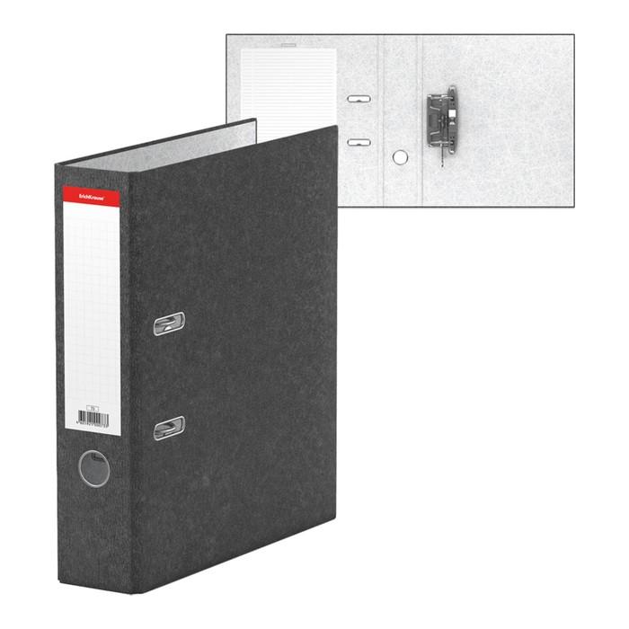 Папка-регистратор А4, 70 мм, BASIC, разборный, мраморный, серый, этикетка на корешке, картон 2 мм, вместимость 450 листов