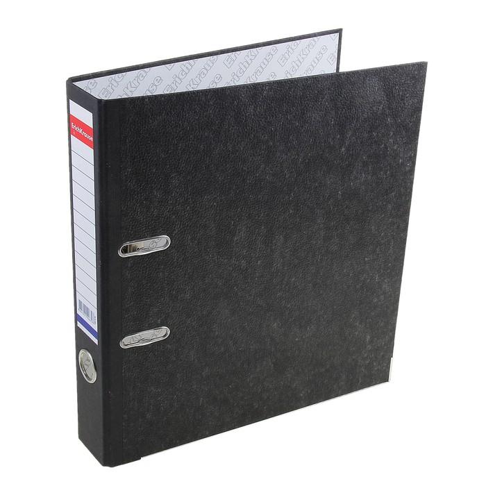 Папка-регистратор А4, 50мм Original, разборный, мраморный, чёрный, этикетка на корешке, металлический кант, картон 2мм, вместимость 350 листов