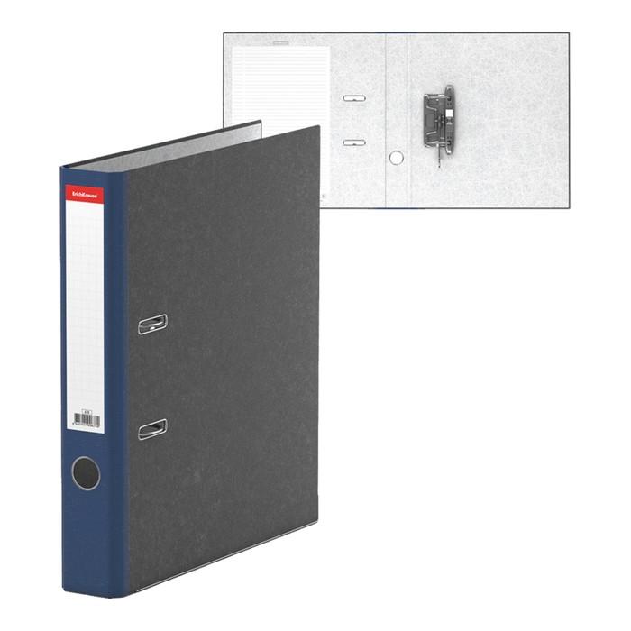 Папка-регистратор А4, 50 мм, Original, разборный, мраморный, синий, этикетка на корешке, металлический кант, картон 2 мм, вместимость 350 листов