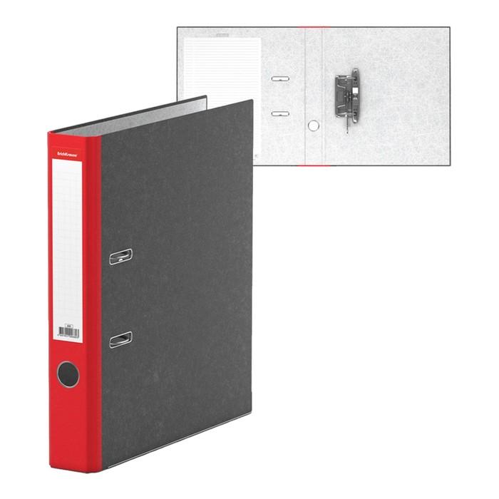 Папка-регистратор А4, 50 мм, Original, разборный, мраморный, красный, этикетка на корешке, металлический кант, картон 2 мм, вместимость 350 листов