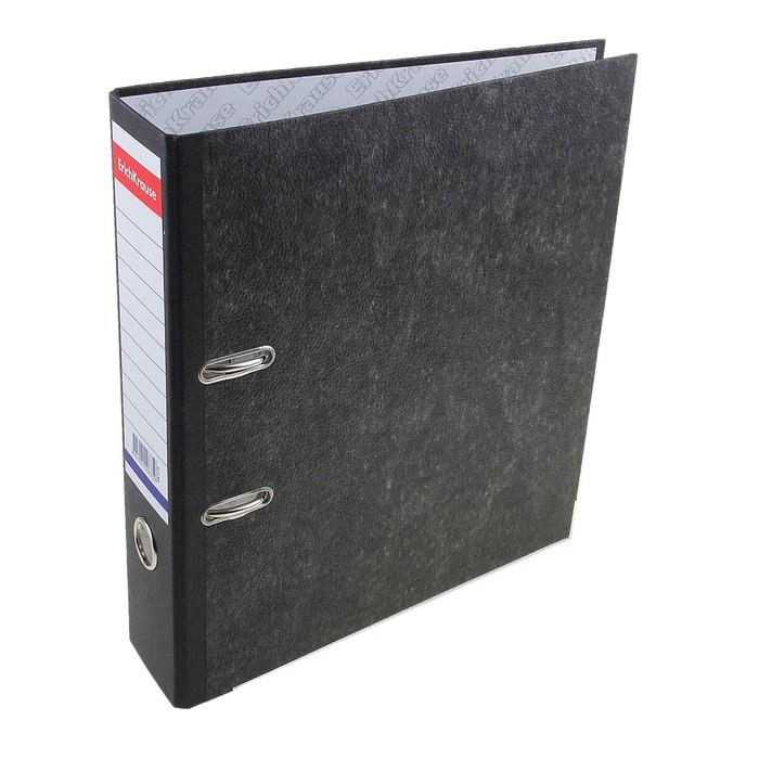 Папка-регистратор А4, 70мм Original, разборный, мраморный, чёрный, пластиковый карман, металлический кант, картон 2мм, вместимость 450 листов