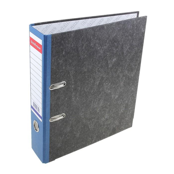 Папка-регистратор А4, 70мм Original, разборный, мраморный, синий, пластиковый карман, металлический кант, картон 2мм, вместимость 450 листов