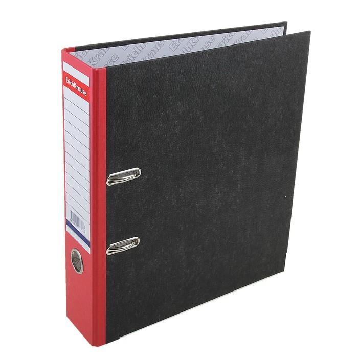 Папка-регистратор А4, 70 мм, Original, разборный, мраморный, красный, пластиковый карман, металлический кант, картон 2 мм, вместимость 450 листов