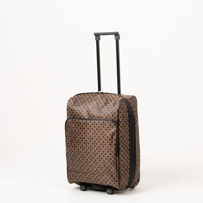 """Чемодан малый, 20"""", отдел на молнии, с расширением, наружный карман, 2 колеса, цвет коричневый - фото 826457"""