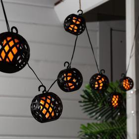 """Подвесной светильник на солн. батарее. Uniel """"Огненные шары"""", LED-80, эффект пламени, IP44"""