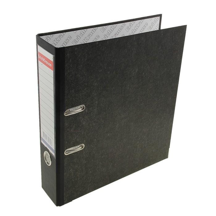 Папка-регистратор А4, 70 мм, Original Pro, разборный, мраморный, чёрный, пластиковый карман, металлический кант, картон 2 мм, вместимость 450 листов