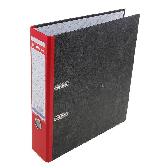 Папка-регистратор А4, 70 мм, Original Pro, разборный, мраморный, красный, пластиковый карман, металлический кант, картон 2 мм, вместимость 450 листов - фото 509602830
