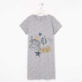 Сорочка для девочки, цвет серый, рост 134-140 см