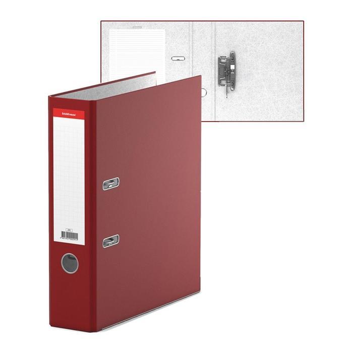 Папка-регистратор А4, 70 мм, «Стандарт», собранный, бордовый, этикетка на корешке, металлический кант, картон 2 мм, вместимость 450 листов