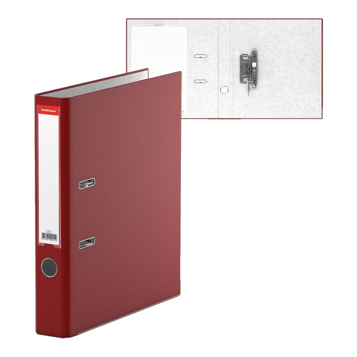 """Папка-регистратор А4, 50мм """"Бизнес"""", собранный, бордовый, пластиковый карман, металлический кант, картон 2мм, вместимость 350 листов"""