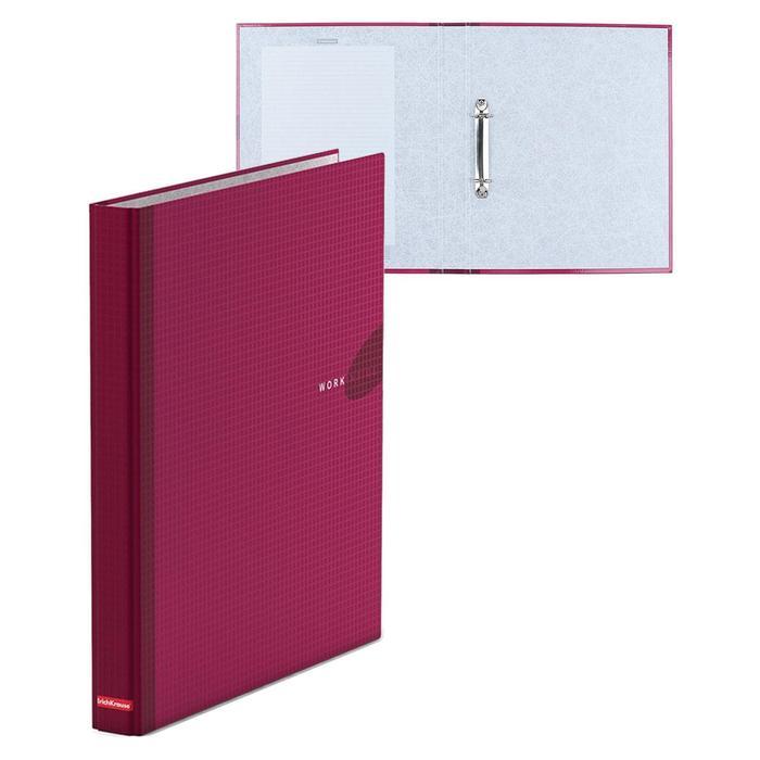 Папка на 2 кольцах А4, 35мм Erich Krause WORK INSIDE бургунди, картон 1,75мм, вместимость 250 листов