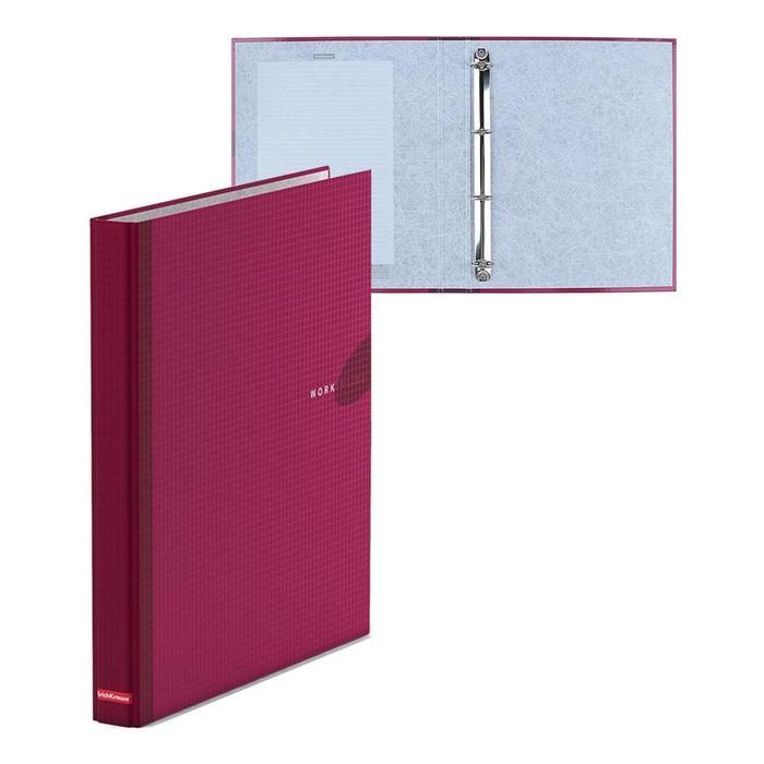 Папка-регистратор на 4 кольцах А4, 35мм Erich Krause WORK INSIDE бургунди, картон 1.75мм, вместимость 250 листов