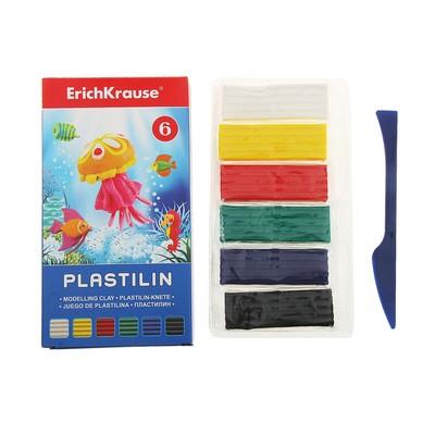Пластилин 6 цветов 108гр, со стеком, EK 30648