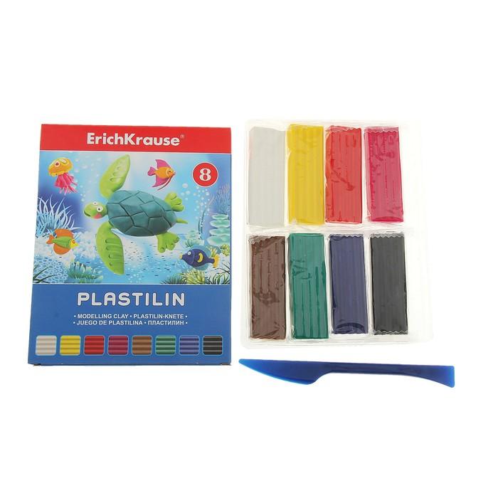 Пластилин 8 цветов 144гр, со стеком, EK 30651