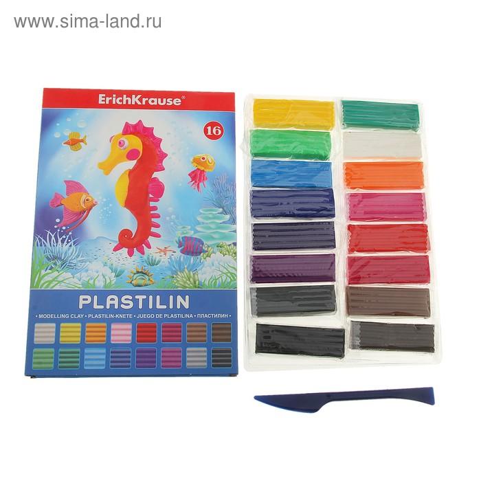 Пластилин 16 цветов 288гр, со стеком, EK 30664