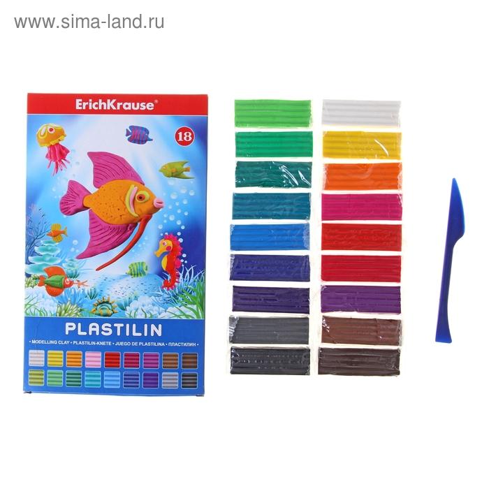 Пластилин 18 цветов 324гр, со стеком, EK 30665