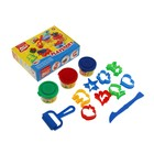 Пластилин на растительной основе набор 3 цвета по 35г Playstory + 8 формочек, стек, ролик для пластилина