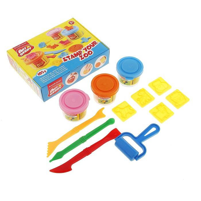 Пластилин на растительной основе набор 3 цвета по 35г Stamp Your Zoo + 5 штампов, 3 стека, ролик для пластилина