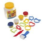 Пластилин на растительной основе набор 4 цвета по 35г Game Planet + 8 формочек, ролик для пластилина, стек