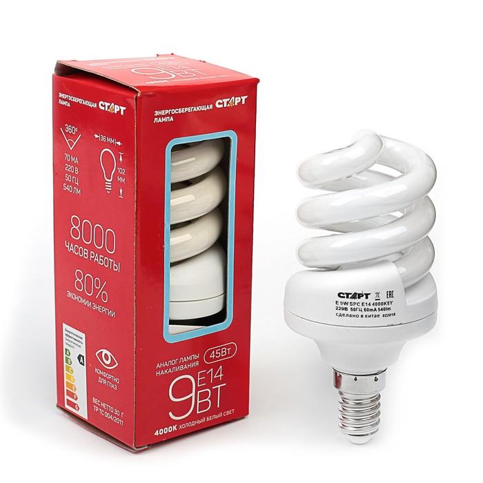 Лампа энергосберегающая Е14, 9 Вт, 4000 К, 450 Лм