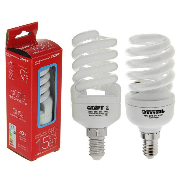 """Лампа энергосберегающая """"Старт"""", Е14, 15 Вт, 4000 K"""