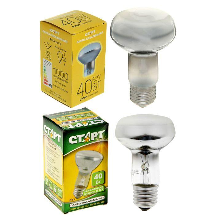 """Лампа накаливания """"Старт"""", E27, 40 Вт"""
