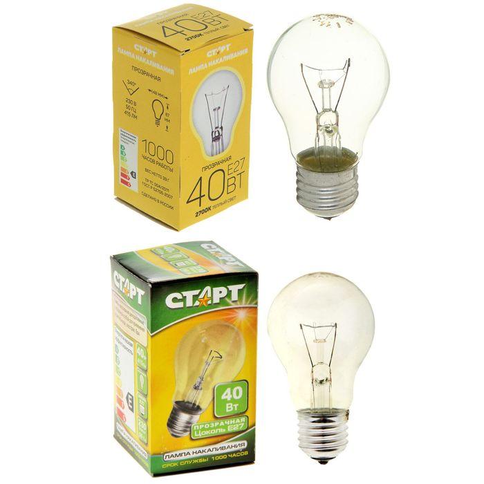 """Лампа накаливания """"Старт"""" Б, Е27, 40 Вт"""
