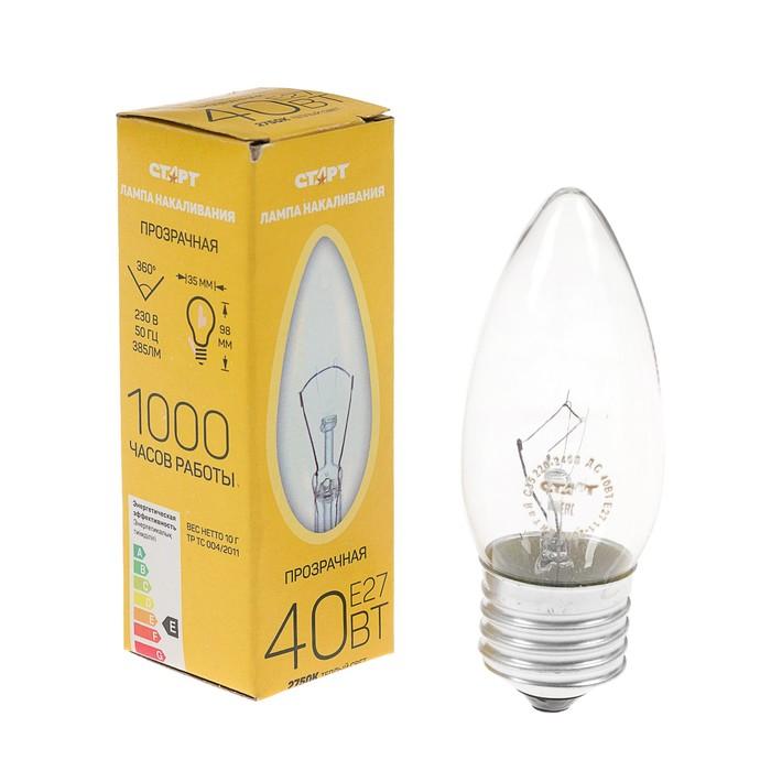 """Лампа накаливания """"Старт"""" ДС, Е27, 225-230 В, 40 Вт, """"свеча"""""""