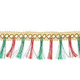 Тесьма красно-зелёная «Кисточки», ширина 4 см, в упаковке 25 м