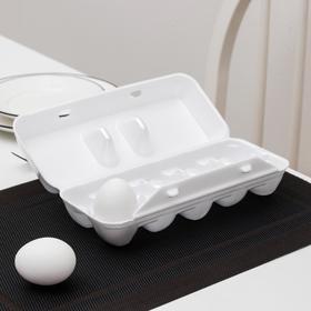 Контейнер для яиц одноразовый, 10 мест, 24,6×22,9×3,95 см, цвет белый