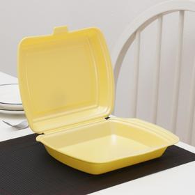 Ланч-бокс одноразовый, 24,7×20,6×7 см, 1 секция, 200 шт/уп, цвет жёлтый