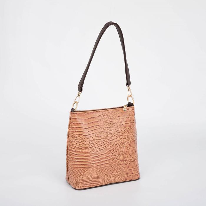 Сумка женская, отдел на молнии, наружный карман, длинный ремень, цвет коричневый - фото 826790
