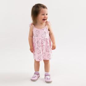 Сарафан для девочки, цвет розовый/кошки, рост 74 см