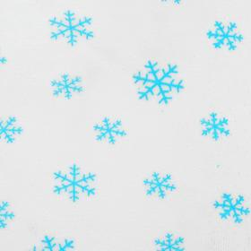 Велюр на белом фоне голубые снежинки, ширина 180 см