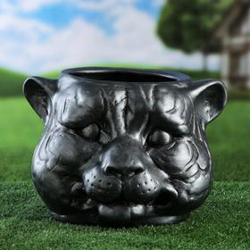 "Фигурное кашпо ""Голова тигра"", металлик, керамика, 8.5 л"