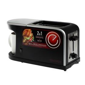 Кофеварка-тостер ENERGY EN-111, 900-1050 Вт, 0.2 л, 7 режимов, 2 тоста, кружка, черная