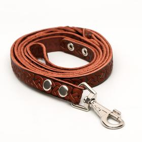 Поводок кожаный однослойный длинный, 2 м х 2 см, коричневый