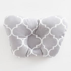 Подушка анатомическая Крошка Я «Серый узор», 26х22 см, 100% хлопок, сатин