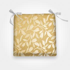 Сидушка на стул листья золото 40х40х2см жакксатин