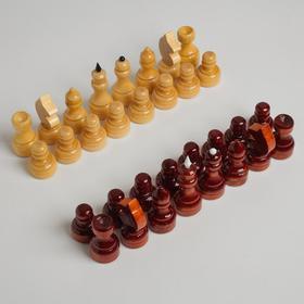 Фигуры шахматные обиходные, дерево, h=3.5-6.7 см, d=2.2-2,5 см