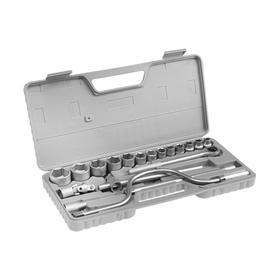 """Набор головок 04-11-010, 10-32 мм, трещотка, вороток, карданный шарнир 1/2"""", 19 предметов"""