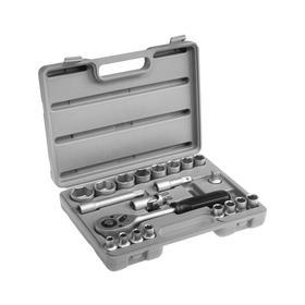 """Набор головок 04-11-011, 8-32 мм, трещотка, удлинитель, карданный шарнир 1/2"""", 21 предмет"""