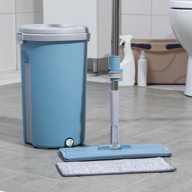 Набор для уборки Доляна: ведро с отсеками 10 л, 24×38 см, швабра плоская 32×12×85(130) см, насадка с карманами с двух сторон