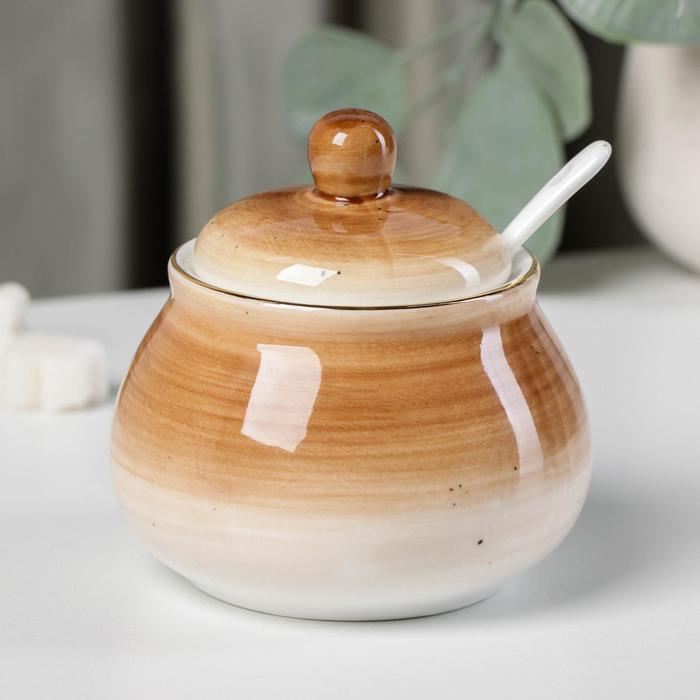 Сахарница с ложкой Доляна «Млечный путь»,280 мл, 10×10×10 см, цвет коричневый