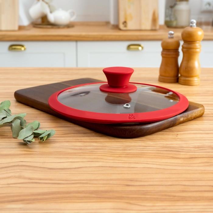 Крышка для сковороды и кастрюли Доляна стеклянная с силиконовым ободком и ручкой, d=22 см, цвет красный